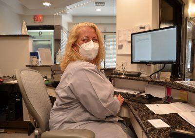 Masks are worn whenever 2 people are in the same space, and respirators are used during treatment, and all ADA, FDA and CDC-PPE (Personal Protective Equipment) guidelines are followed.